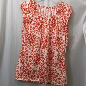 Ann Taylor Loft Top Size XL SS Coral and White